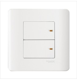 16AX/20A 250V 2 Gang 1 Way Full-Flat Switch with Ondicator