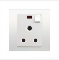 15A 3 Pin Round Switched Socket with Neon