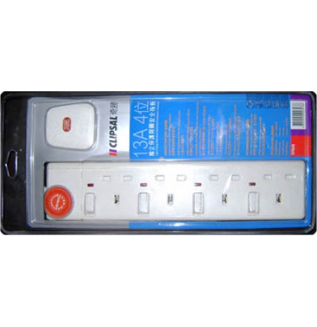 4 Gang 13A 3 Pin Flat Switched Socket Outlets with Neon,Fitted with 3 Mtr Wire & 13A Fused 3 Pin Flat Plug, White Color.