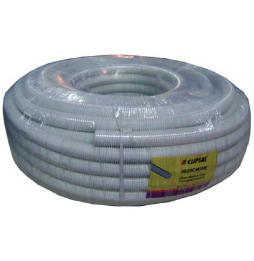 25mm PVC Corrugated Conduit (50mtr), White