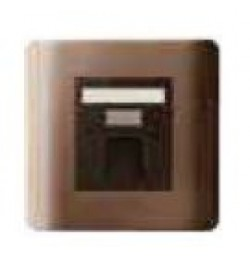 1 Gang Data Outlet with integrated shutter Silver, Bronze finish